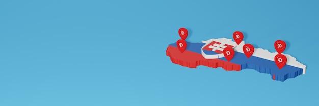Uso de pinterest en eslovaquia para cubrir las necesidades de la televisión en las redes sociales y la portada del fondo del sitio web