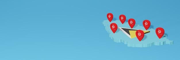 Uso de pinterest en santa lucía para cubrir las necesidades de la televisión en las redes sociales y la portada del fondo del sitio web
