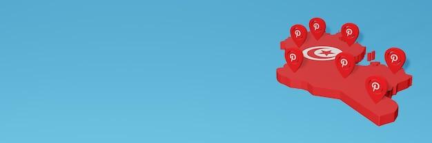 Uso de pinterest en túnez para cubrir las necesidades de la televisión en las redes sociales y la portada del fondo del sitio web
