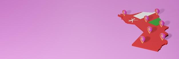 Uso de redes sociales e instagram en infografías de omán en renderizado 3d