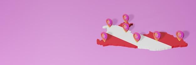 Uso de redes sociales e instagram en infografías de perú en renderizado 3d