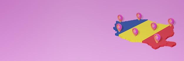 Uso de redes sociales e instagram en infografías de rumania en renderizado 3d