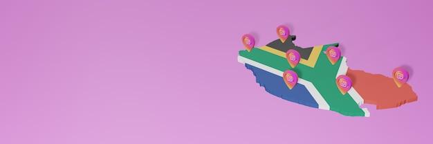 Uso de redes sociales e instagram en sudáfrica para infografías en renderizado 3d