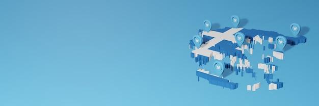 Uso de redes sociales y twitter en grecia para infografías en renderizado 3d