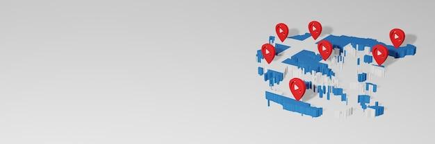 Uso de redes sociales y youtube en grecia para infografías en renderizado 3d