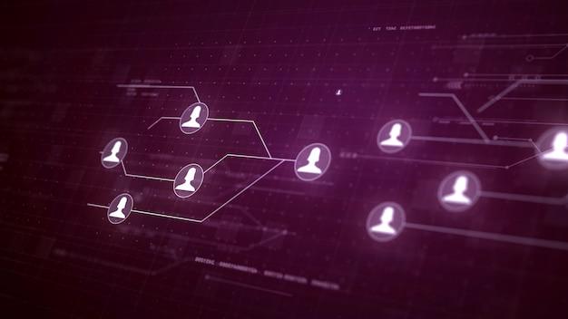 Usuario red de personas conexión de la placa de circuito tecnología de conexión