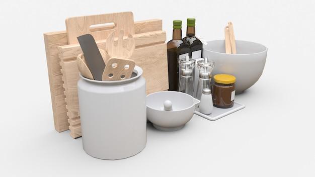 Utensilios de cocina, aceite y verduras enlatadas en un frasco sobre un fondo blanco. representación 3d