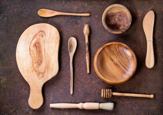 Utensilios de cocina de madera de olivo