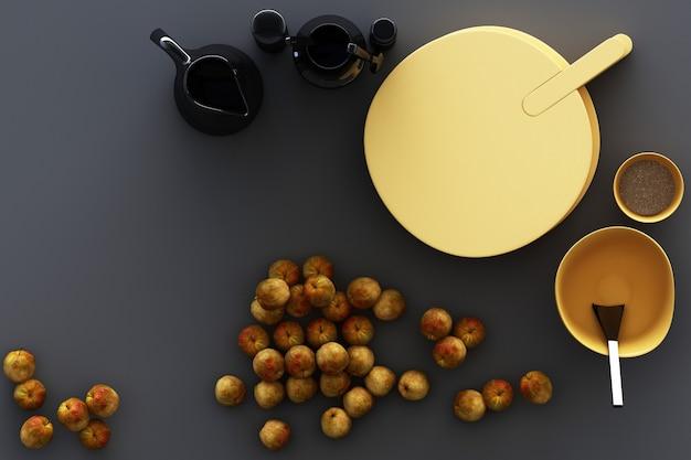 Utensilios de cocina y manzanas amarillas sobre fondo gris. representación 3d