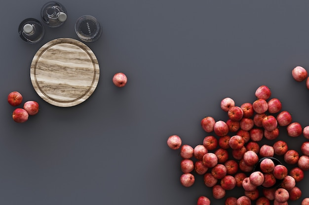 Utensilios de cocina y muchas manzanas sobre fondo gris. representación 3d