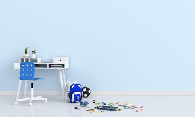 Útiles escolares en sala azul claro