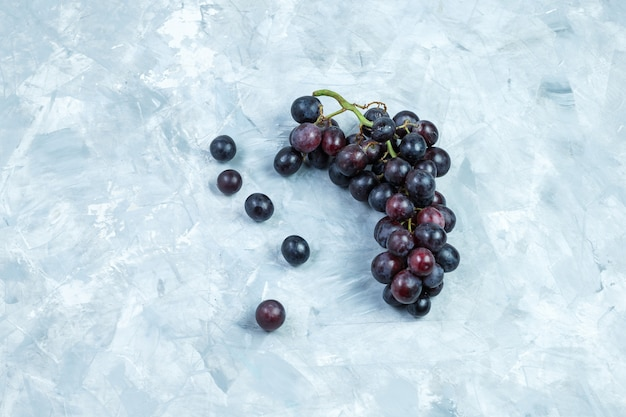 Uvas negras laicas planas sobre fondo de yeso sucio. horizontal