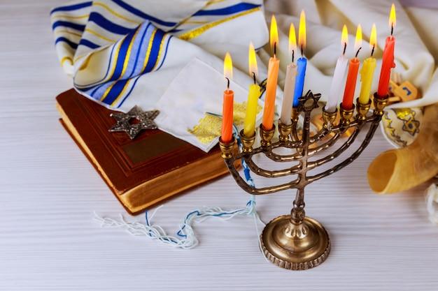 Vacaciones judías hannukah símbolos