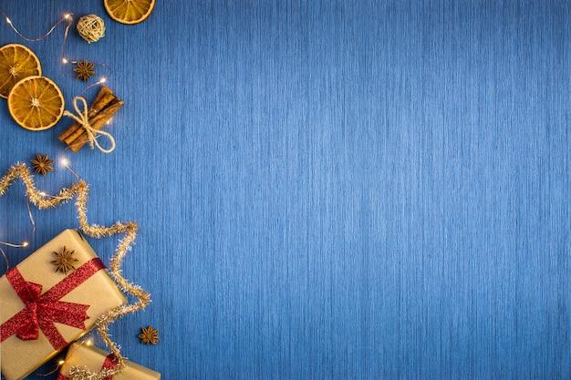 Vacaciones de navidad composición azul