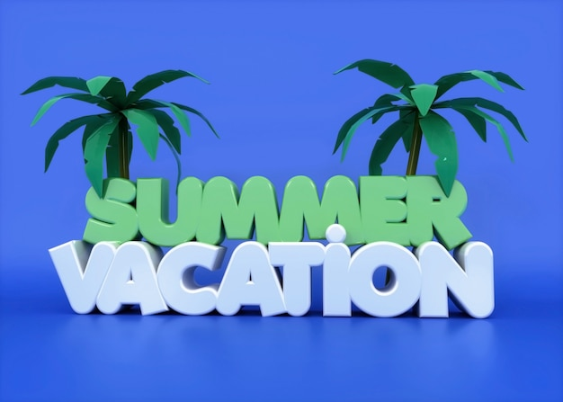 Vacaciones de verano texto 3d con palmeras y púrpura