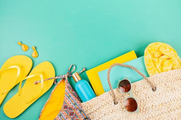 Vacaciones de verano, viajes, turismo concepto plano lay