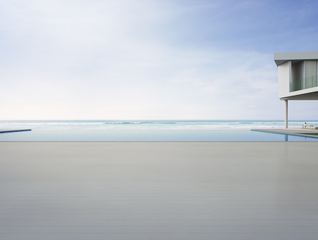 Vacie la cubierta de piso de madera en la casa de vacaciones o el hotel.