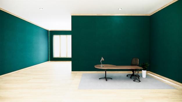 Vacie el interior verde de la sala de conferencias con el piso de madera en la pared blanca - interior vacío del sitio de negocio del sitio. representación 3d