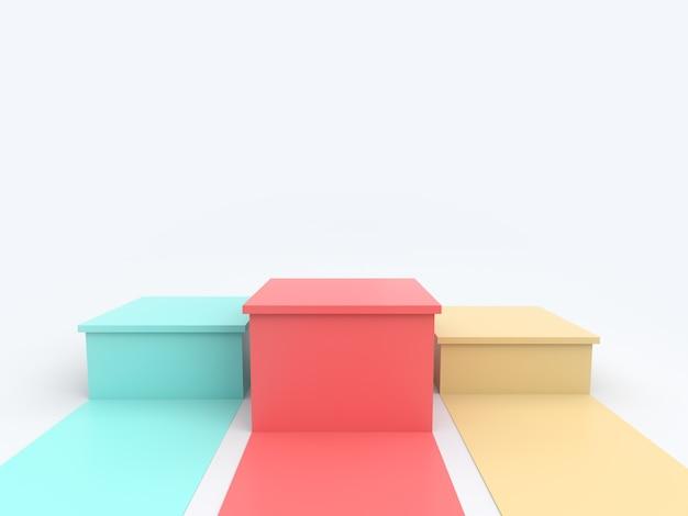 Vacie el podio amarillo rosado verde de los ganadores en colores pastel en el fondo blanco