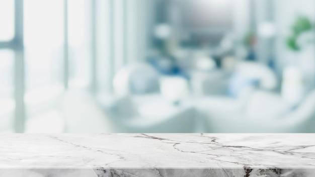 Vacie la sobremesa de piedra de mármol blanco y desenfoque el fondo abstracto del banner interior del restaurante de la ventana de cristal: puede usarse para mostrar o montar sus productos.