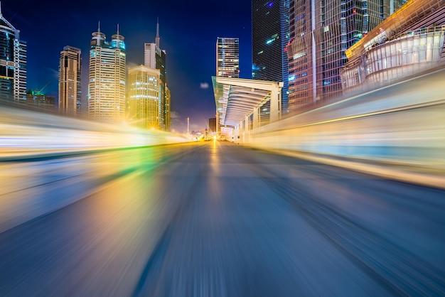 Vacío, asfalto, camino, cityscape, horizonte, shangai