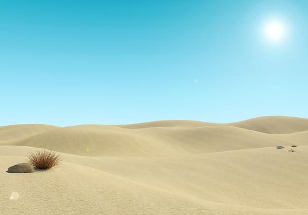 Vacío desierto paisaje de arena y fondo de cielo azul
