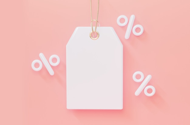 Vacío para etiqueta de precios con porcentajes en representación 3d de colores pastel