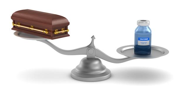 Vacuna de covid-19 y ataúd a escala. ilustración 3d aislada sobre fondo blanco
