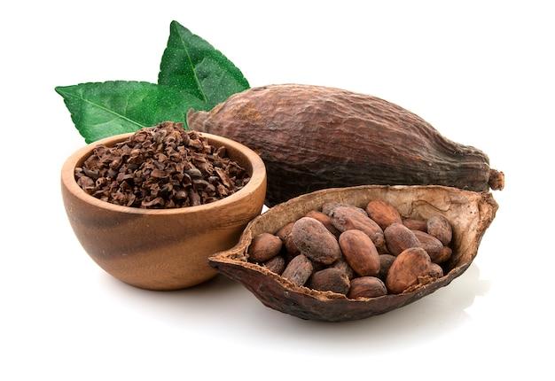 Vainas de cacao y granos de cacao y polvo de cacao con hojas aisladas sobre fondo blanco