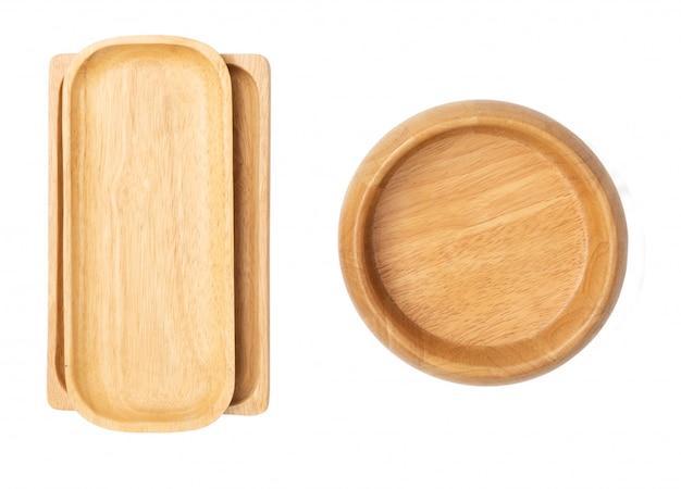 Vajilla de madera de la bandeja y del cuenco aislada en el fondo blanco