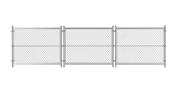 Valla de alambre de metal sobre un fondo blanco.