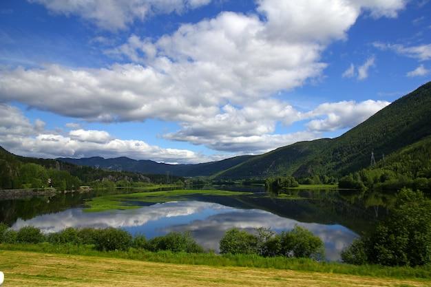 Valle con lago y bosque