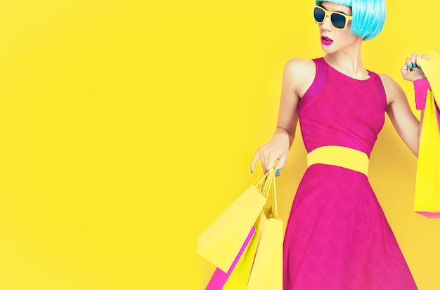 Vamos de compras ! dama de la moda glamorosa