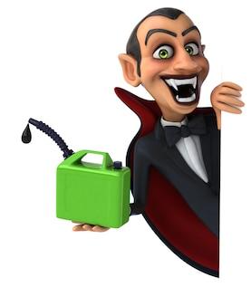 Vampiro aterrador sosteniendo un recipiente de aceite