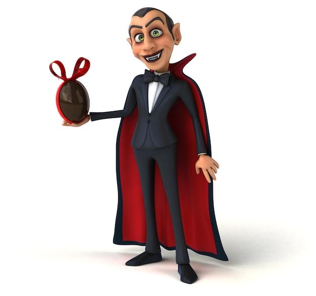 Vampiro sosteniendo un huevo de pascua de chocolate