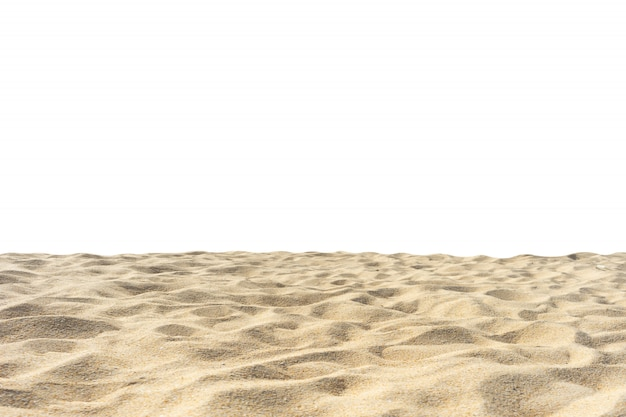 Vare la textura de la arena di-cortada en el fondo blanco.