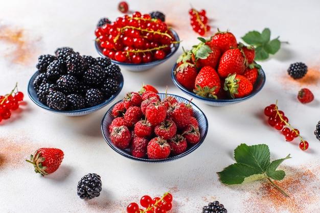 Varias bayas frescas de verano, arándanos, grosellas rojas, fresas, moras
