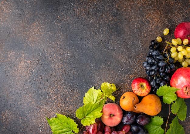Varias frutas de otoño. concepto de cosecha