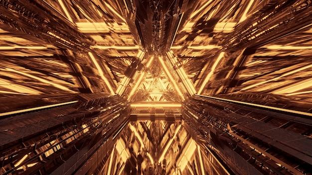 Varias luces que forman patrones triangulares y fluyen hacia adelante detrás de un fondo oscuro