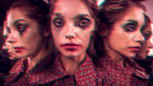 Variedad de ángulos del rostro glitched de una mujer.