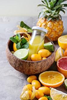 Variedad de frutas cítricas.