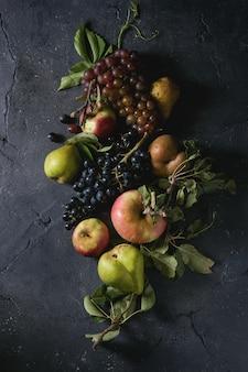 Variedad de frutas de otoño.