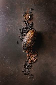 Variedad de granos de cacao