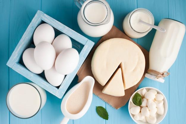 Variedad plana de productos lácteos frescos.