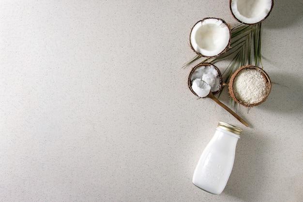 Variedad de productos de coco.