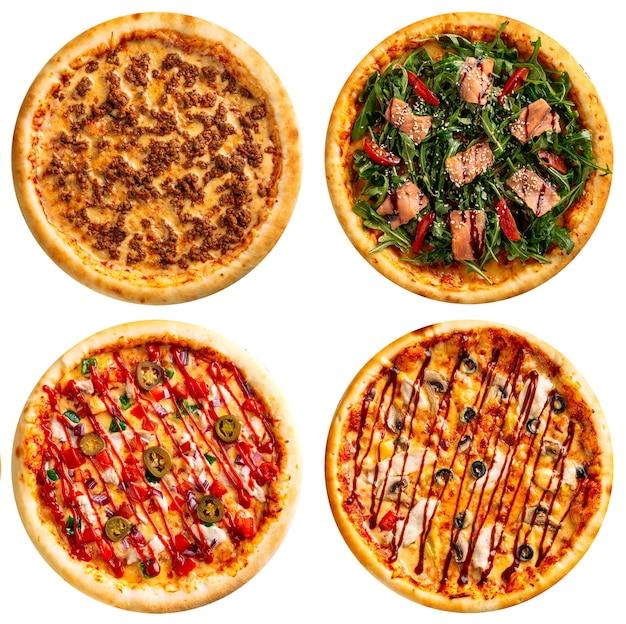 Variedad surtida aislada de diseño de menú de collage de pizzas sobre el fondo blanco.
