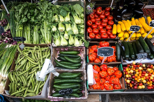 Variedad de vegetales coloridos en venta