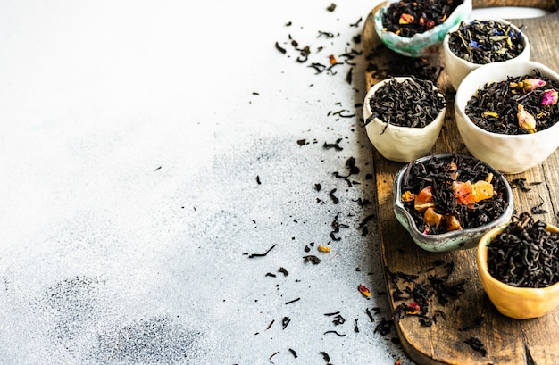 Variedades de té en piedra