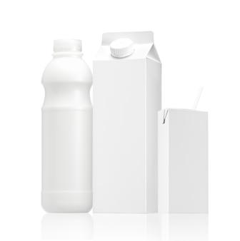 Varios grupo de paquete de leche o paquete de jugo con espacio en blanco