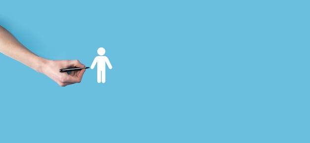 Varios, las manos dibujan un icono humano de personas hombre con un marcador. hr humano, icono de personas. negocio de sistema de procesos de tecnología con reclutamiento, contratación, formación de equipos.